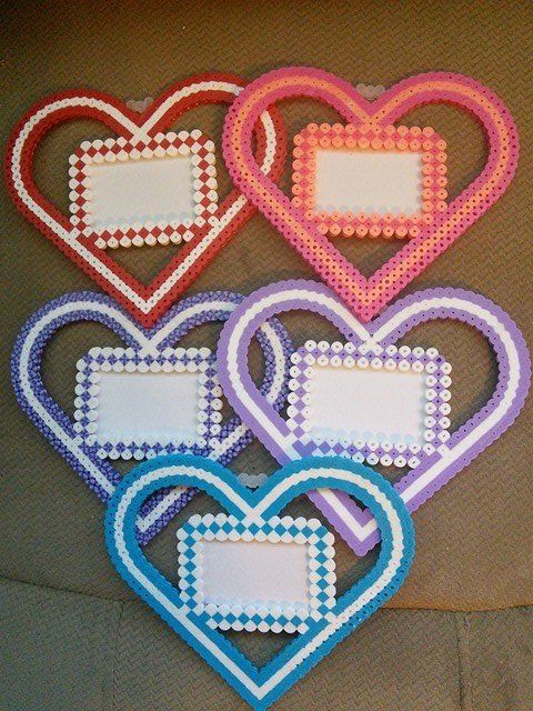 Hearts - Valentine's Day frames perler beads by FluffyRosey