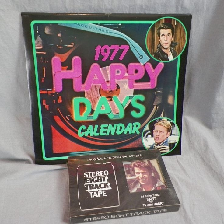Happy Days New 1977 Calendar w Box & Fonzie's Favorites Eight Track Tape Sealed