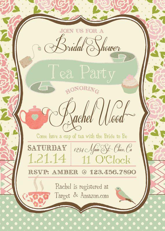 tea party bridal shower invitation tea party bridal shower tea parties and bridal shower. Black Bedroom Furniture Sets. Home Design Ideas