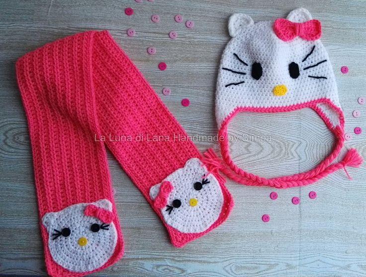 cappellino a uncinetto e sciarpa da bambina ispirato a Hello Kitty Coordinato , by La Luna di Lana - Handmade by Simo, 38,00 € su misshobby.com
