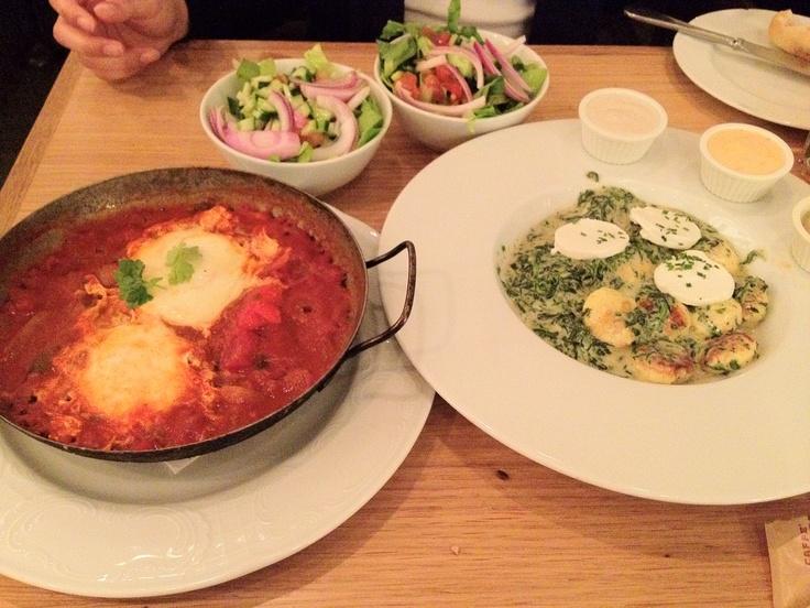 Shakshouka and egg balls at Benedict in Tel Aviv