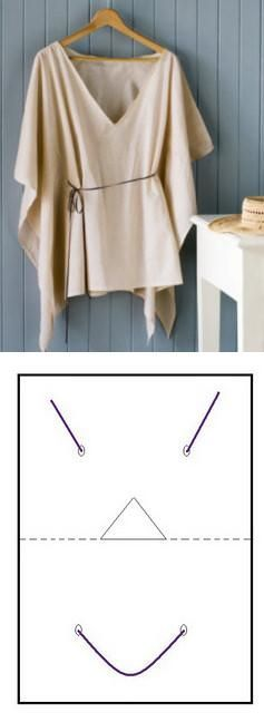 Tied Drape-Top: Use a no-fray fabric, like modal, no-fray chiffon or polar fleece for a winter version, since is a no sew no fusing, and very quick top to make. Cut a rectangle twice as long as you want your top to be, and elbow to elbow wide. Then fold to find the center (use chalk to mark it, i used a pointed line in the drawing). Cut the neck hole on one side of the pointed line (a triangle or half a circle would work fine, you can tweak it later) and put it on. Mark waist...: