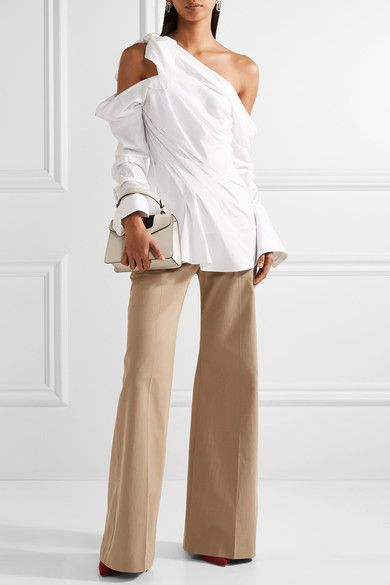 White cotton-blend Concealed zip fastening along side  97% cotton, 3% polyurethane Dry clean