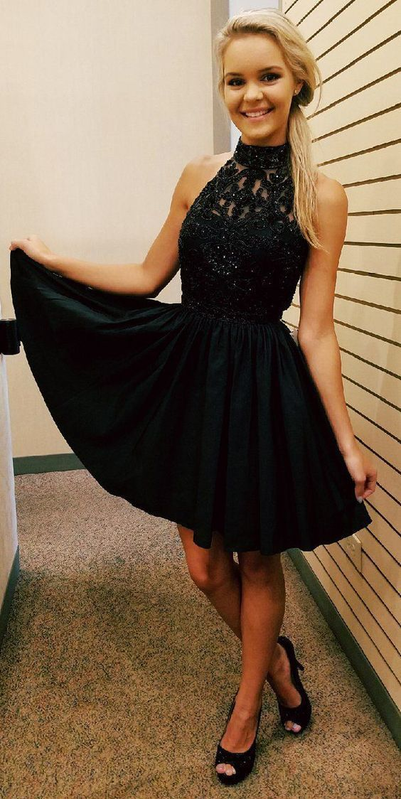 80b2f7739909 Black Homecoming Dress, High Neck Homecoming Dress, Short Prom Dress, Cute  Sweet 16 Dress 0681 by RosyProm, $143.99 USD