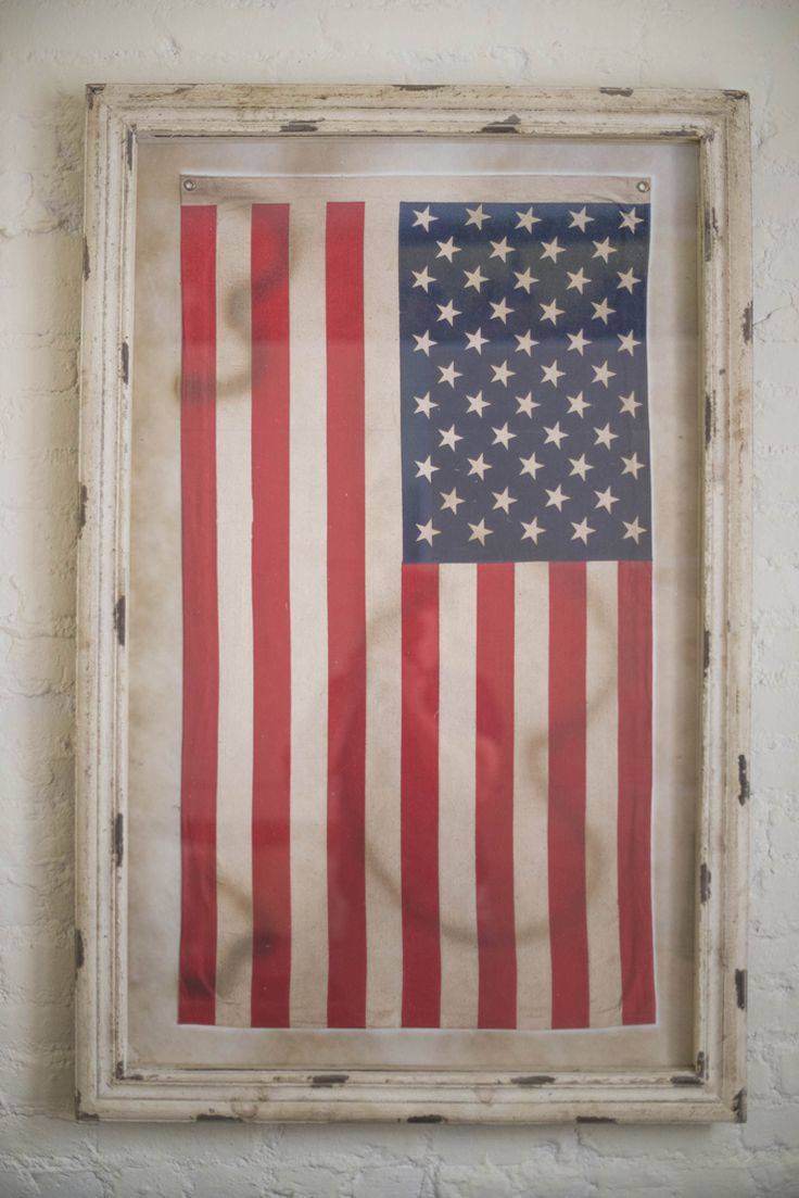 Love This Weathered Wood Frame Framed American Flag