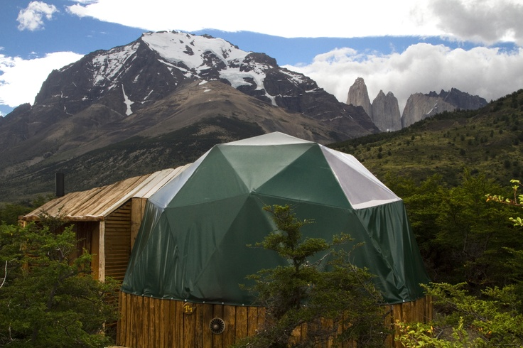 Panoramic view of las Torres del Paine behind the domes http://www.ecocamp.travel/Domes/Superior