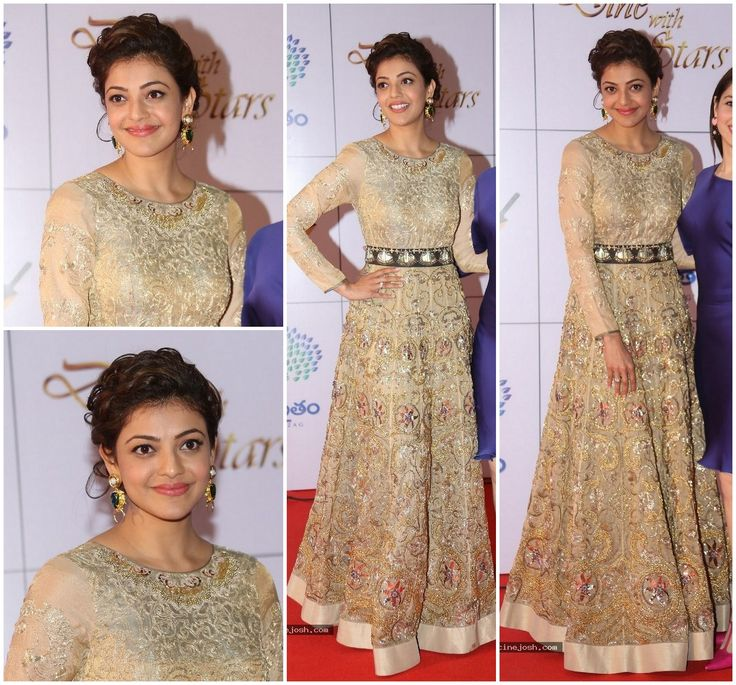 Kajal Aggarwal in Jade Kajal Aggarwal was one of the many celebs who attended the Memu Saitam Dinner With Stars event last night. The actress walked the carpet in a heavily embroidered Jade by Monica and Karishma floor length anarkali, that she styled with Valliyan earrings and an updo. Its a very heavy garment, but Kajal wears it really well. I especially love that darker band detail across her waist, which gives a break to all the nude embroidery.She was styled by Anisha Jain.