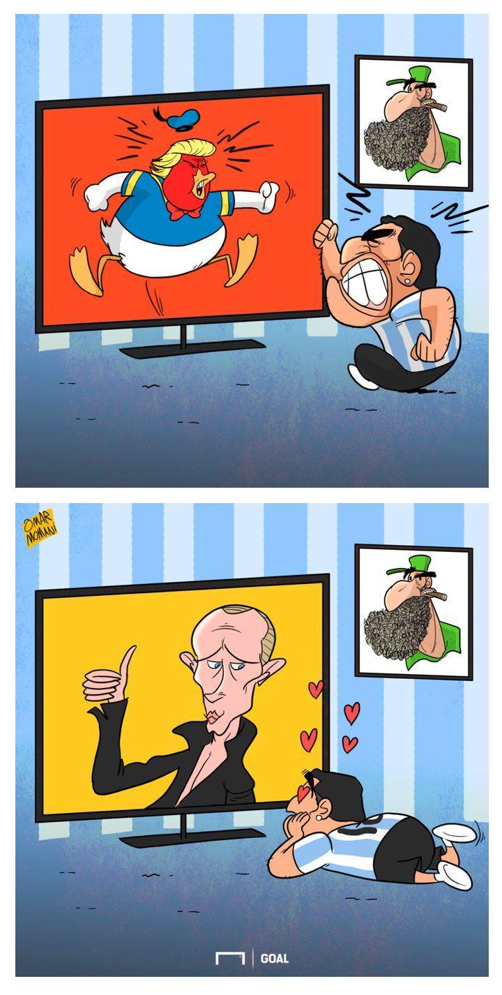 Марадона влюблен в Путина - Футбольные карикатуры - Блоги - Sports.ru