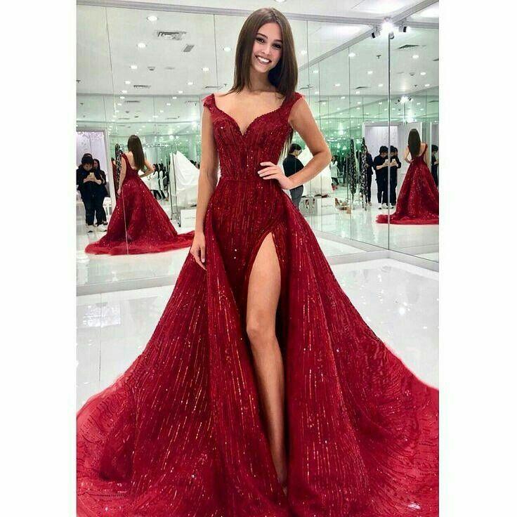 Rojo Largo Vestido De Noche En 2019 Vestidos De Miss