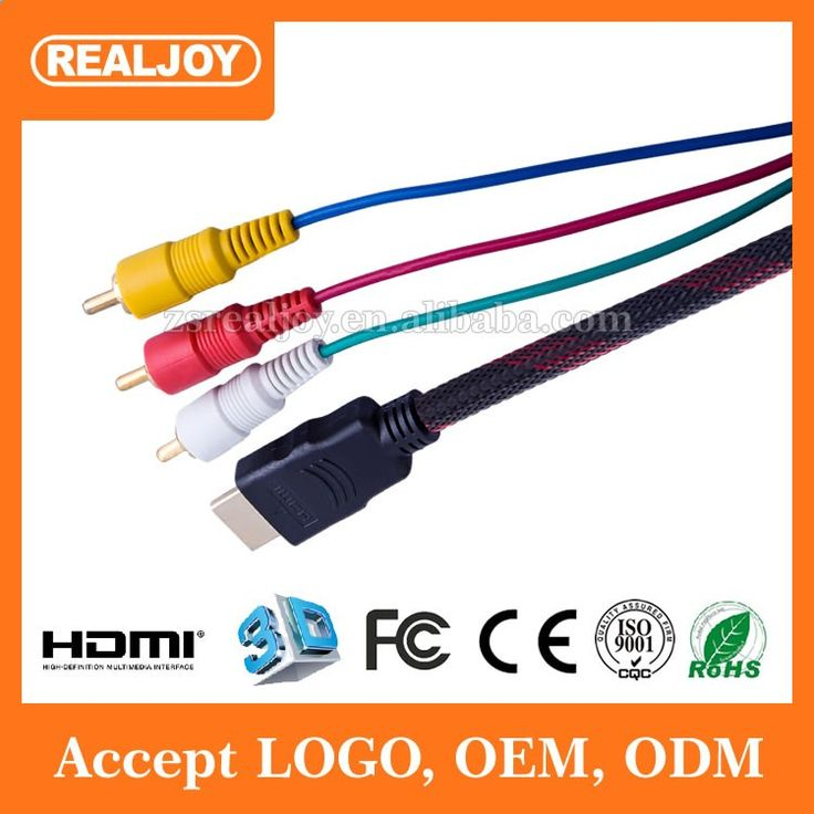 1.5m Dongguan factory HDMI to 3 RCA Audio Video AUX AV Converter Adapter Cable support 1080P HDTV DVD