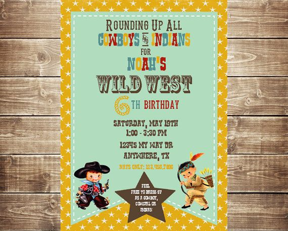 SALE- Cowboy and Indian party set-Custom Birthday Invitations- Cowboy and Indian Birthday Party- Thank You- Favor Tags- Printable Party