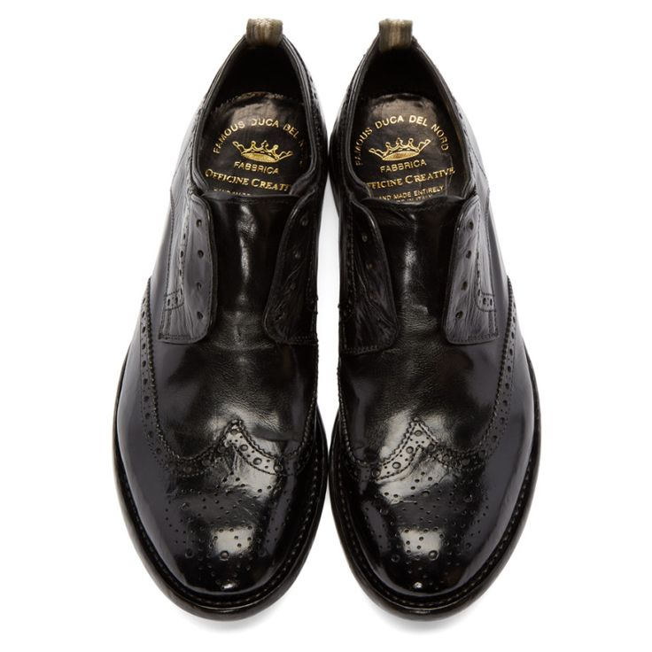 Officine Creative Black Slip-On Wingtip Brogues