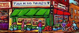 Flower Shop Painting - Depanneur Coca Cola Marche Fleuriste Maison De Pain Montreal Street Hockey Scenes Quebec Art  by Carole Spandau