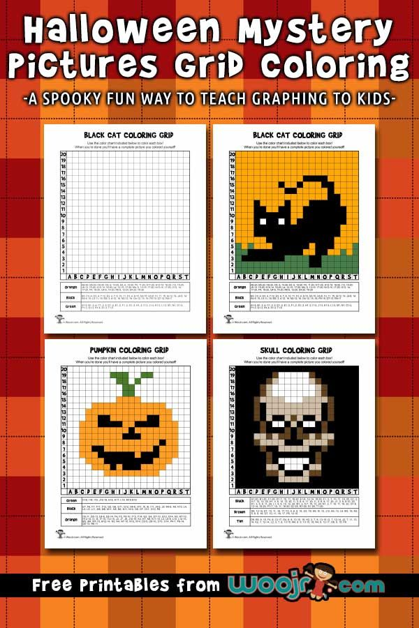 Halloween Mystery Pictures Grid Coloring Pages Woo Jr Kids Activities Halloween Mystery Pictures Halloween Mystery Mystery Picture Graph