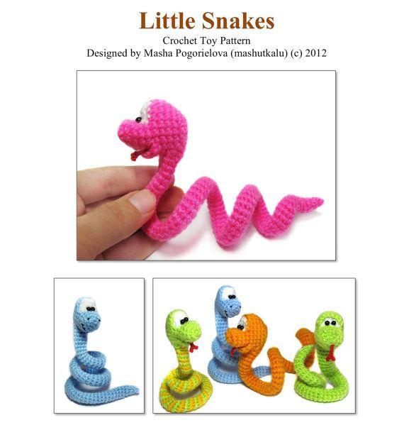 Serpiente pequeño - pdf crochet patrón de juguete - tutorial de amigurumi patrón