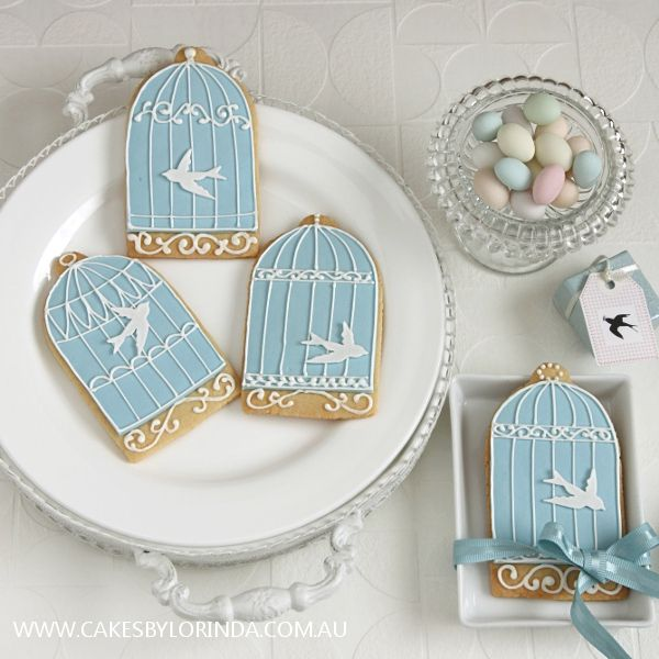 http://www.cakesbylorinda.com.au/wp-content/uploads/2010/07/IMG_1475_600.jpgBirds Cages, Decor Cookies, Birds Cookies, Bird Cages, Ice Cookies, Blue Birdcages, Birdcages Cookies, Iced Cookies, Cages Cake