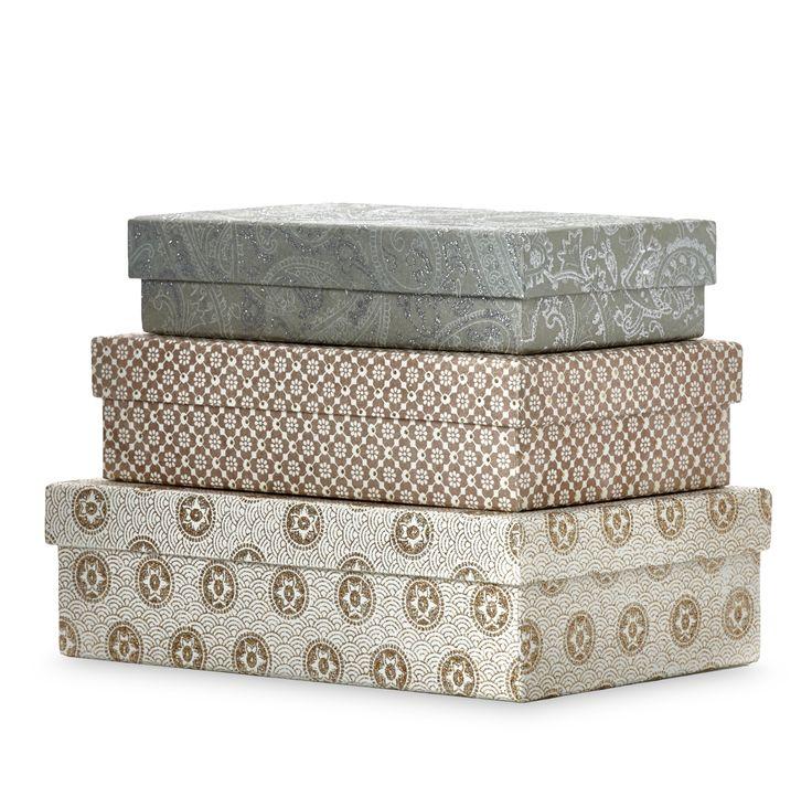 Lyxiga förvaringslådor i papper som även passar som presentlådor i 3 delar och 3 storlekar.