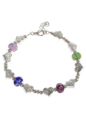 O Silver Heart and Beaded Bracelet