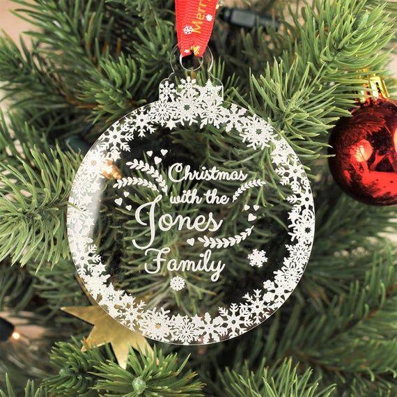 Personalised Christmas Tree Decoration Engraved Bauble Gift Etsy In 2020 Personalised Christmas Tree Decorations Personalised Christmas Baubles Christmas Tree Painting