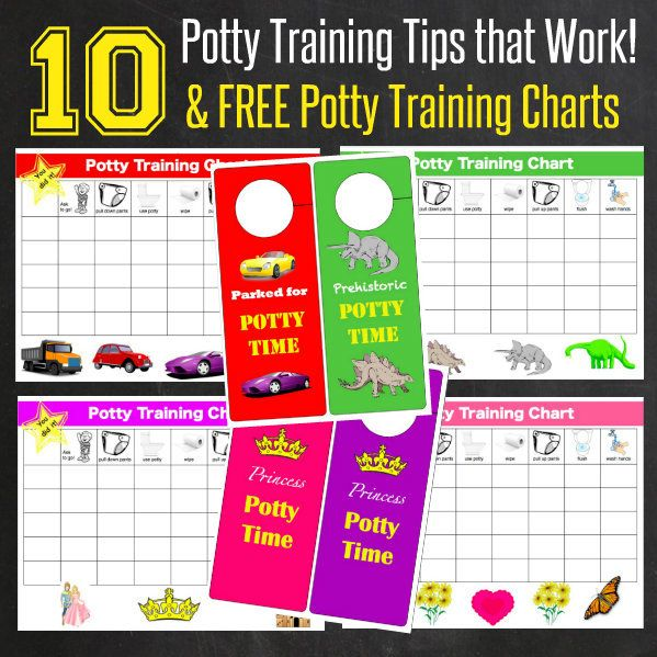 10 Potty Training Tips that Work with FREE Printable Potty Training Charts w/ tips we've used to get our two (almost 3) year old day-time trained in 1 week