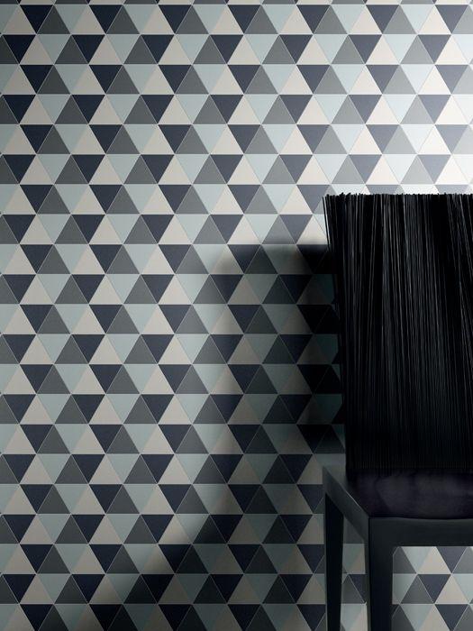 Lea Ceramiche Slimtech Gouache, decoro Libeccio, design Diego Grandi. Rivestimento a parete a motivo geometrico formato da triangoli di spessore ridotto. I moduli su rete misurano cm 15,4x22,3. In 7 colori freddi rubati alle terre del Nord.