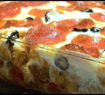 Pizza Casserole:    1 (16 ounce) package uncooked rotini pasta  1 lb ground Italian sausage  1 (24 ounce) jar pasta sauce  1 (16 ounce) container cottage cheese  1 (2 1/4 ounce) can sliced black olives, drained (optional)  1 (4 ounce) can mushrooms, drained  12 ounces shredded mozzarella cheese  2 (3 ounce) packages sliced pepperoni
