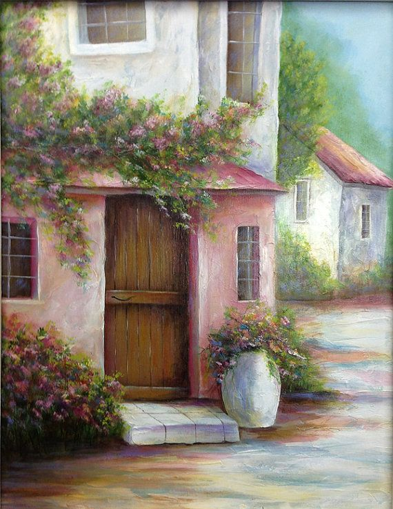 PINK VILLA an original fine art painting of a by DianeTrierweiler, $149.99