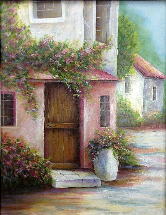 PINK VILLA an original fine art painting of a by DianeTrierweiler, $149.99