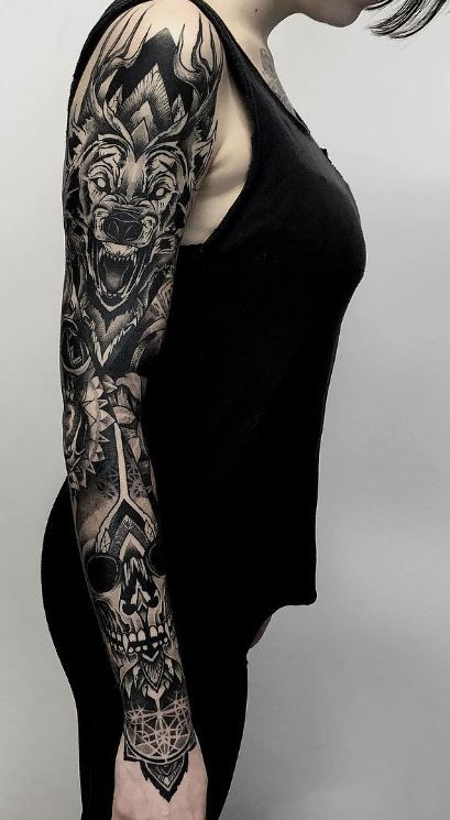 traditional rose tattoo sleeve