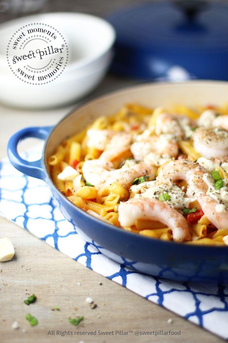 One Pot Creamy Tomato Harissa Shrimp Pasta — Sweet Pillar™