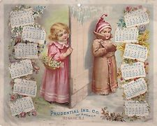 "1897 PRUDENTIAL INSURANCE VICTORIAN CHILDREN ADVERTISING TRADE CALENDAR 8""X10"""
