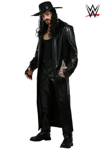 Be one of the greatest wrestlers of all time in this WWE Undertaker Men's Costume. It features the Undertakers ever popular outfit of black leather pants, black tank top and, of course, his long leather trench coat.