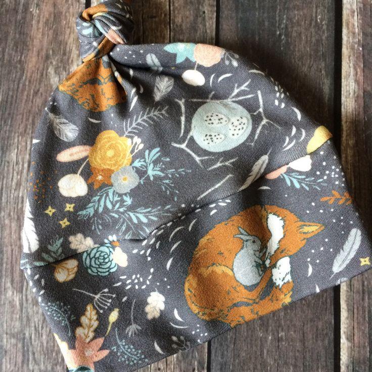 Fox in the Garden - Organic Baby Knot Hat