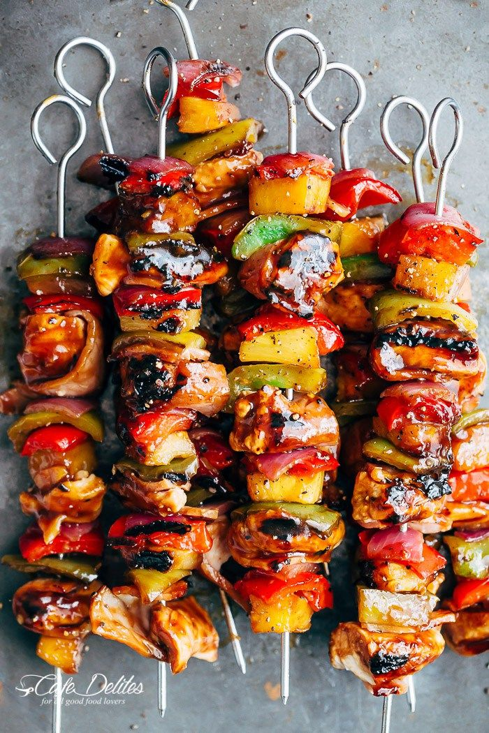 Hawaiian Chicken Bacon Pineapple Kebabs | http://cafedelites.com