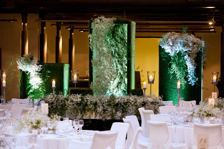 White & Green Wedding Reception made by thousands of tiny white flowers - Gypsophila. Andel's Hotel Lodz, Polandy by artsize.pl