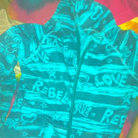 Full zip aqua blue hoodie REDUCED!! So cute!! Aqua in color with peace, love, rebel written on it with starts and hearts! :) worn 1 time so the fleece on the inside is still super soft! Vanity Jackets & Coats