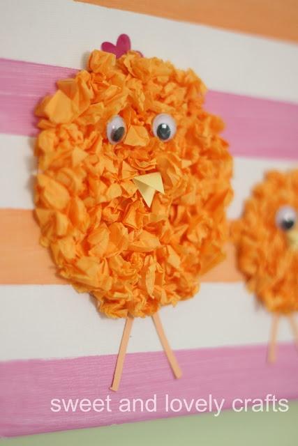 Tissue paper Easter chicks for Easter