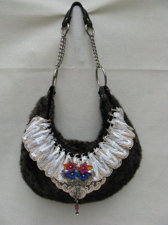 Faux Cheetah Fur Upcycled Purse with Sequin by FruitfullHands, $40.00