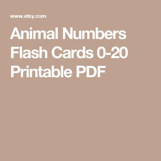 Animal Numbers Flash Cards 0-20 Printable PDF
