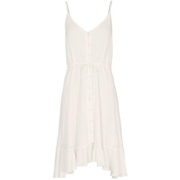 Rails Women's Clara Midi White Dress ($198) ❤ liked on Polyvore featuring dresses, white, v-neck dresses, white ruffle dress, high low dresses, white v neck dress and white dresses