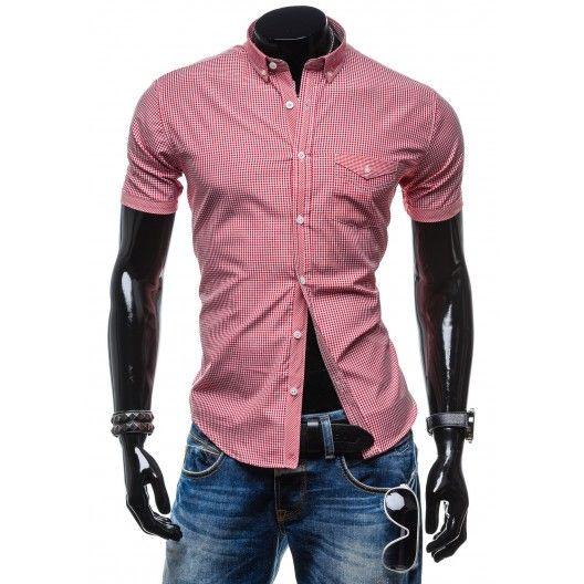 Štýlová červená košeľa s kockovaným vzorom za skvelú cenu - fashionday.eu