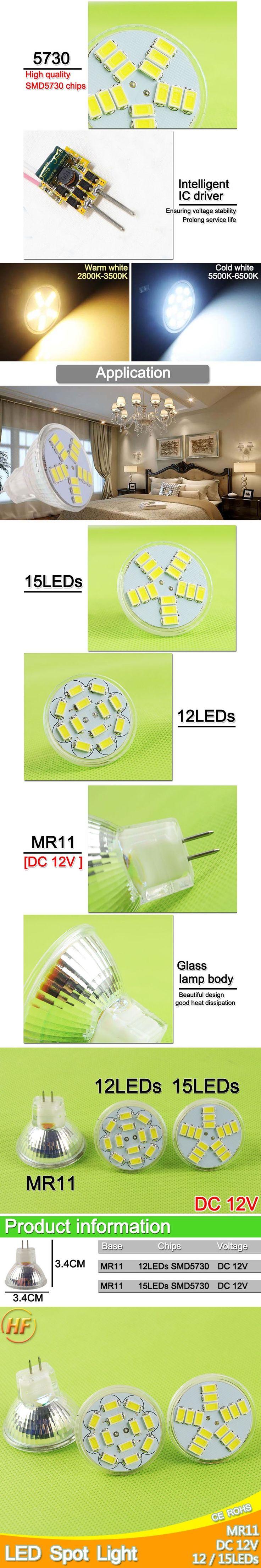 MR11 Led Spotlight DC 12V 3W 5W 5730 SMD LED Bulb Energy Saving Lamp Led Spot Light Bulb DC12v Cool White/Warm White Bombilla