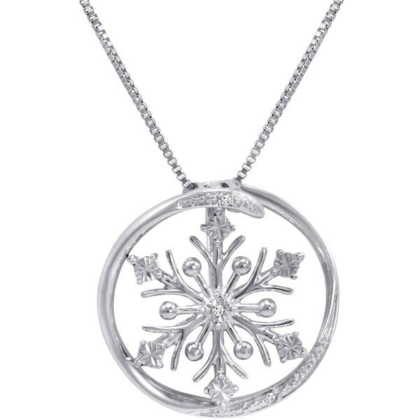 Diamond Accent Snowflake in Circle Pendant-Necklace in Sterling Silver ($40) ❤ liked on Polyvore featuring jewelry, necklaces, sterling silver pendant necklace, sterling silver chain necklace, sterling silver circle necklace, snowflake pendant necklace and 14 karat gold necklace