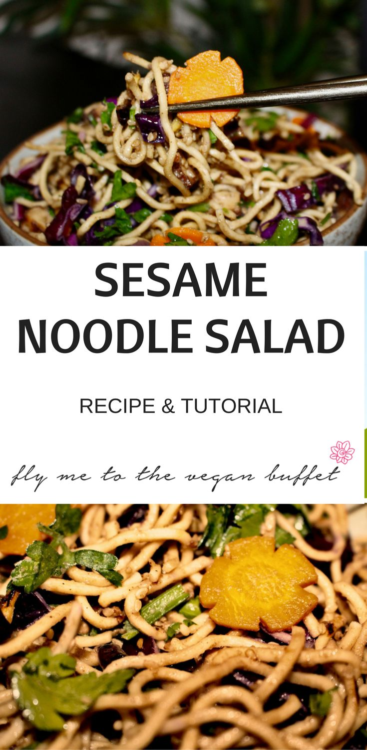 Delicious Sesame Noodle Salad with Carrots, Red Cabbage, Tofu and fresh herbs, to be enjoyed warm or cold, here is how to make it: