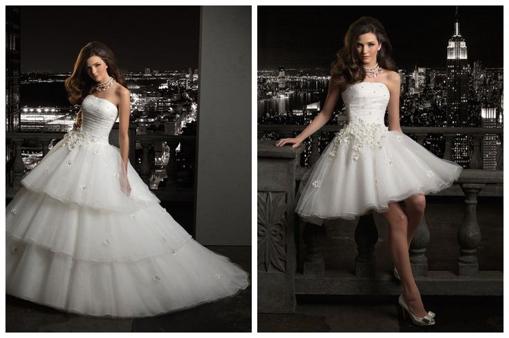 convertible ball gown wedding dress. Would be nice for the party after the ceremony without having to change completely...