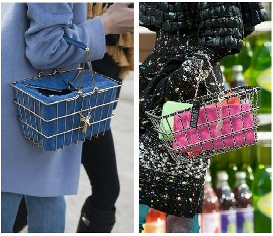 Trend alert: Shopping baskets as handbags seen on Paris streets (left) and @CHANEL #AW14 collection.#PFW #accessories #streetstyle #bags @karllagerfeld