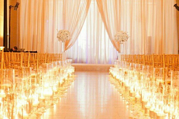 All White Indoor Wedding Ceremony Site: Indoor Wedding Altars