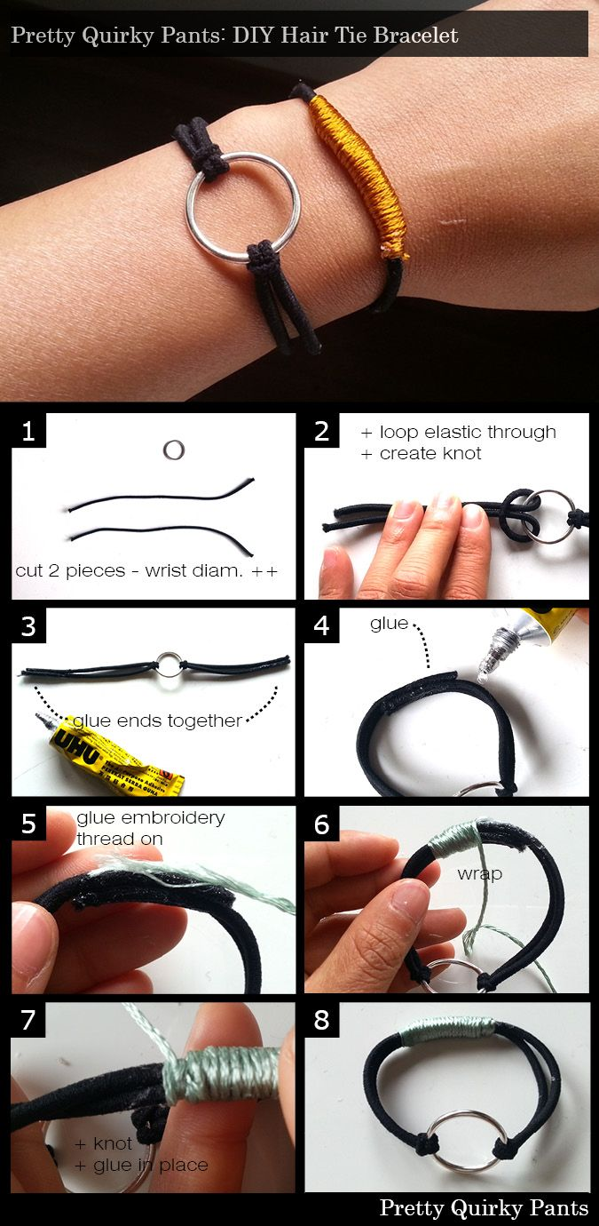 Hair Tie Bracelet Instructions                                                                                                                                                                                 More