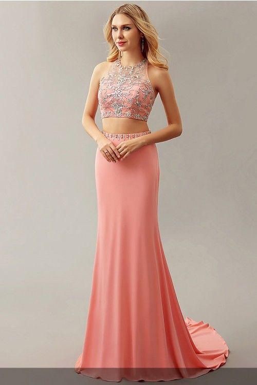 Strass Perlen Jewel Neck ärmellose Open Back zweiteilige Abendkleider # Abendkleid # Abendkleider # Abendkleid # Abendkleider # Formal ...