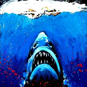"A ""Splash!"" painting from the movie ""Jaws"""